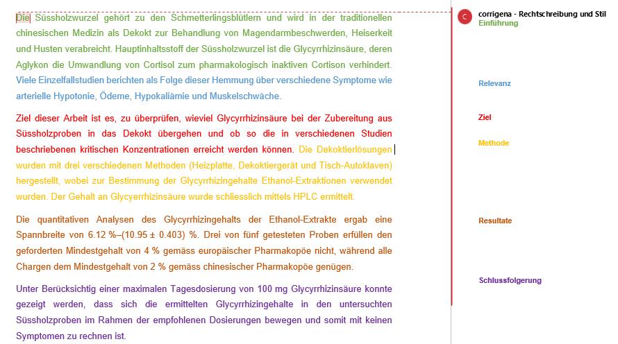 Farbliche Darstellung der einzelnen Abschnitte in einem Abstract.